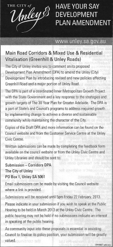 Consultation notification from the City of Unley for the Main Road Corridors & Mixed Use & Residential Vitalisation Development Plan Amendment
