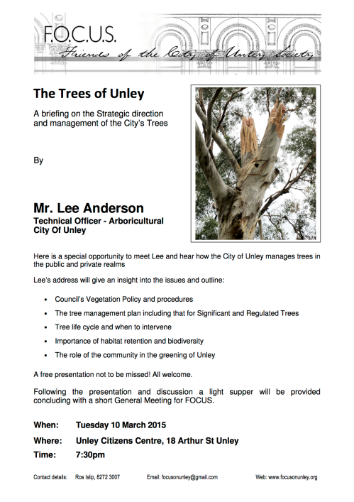 The Trees of Unley: A briefing on the Strategic direction and management of the City's Trees By Mr. Lee Anderson, Technical Officer – Arboricultural, City Of Unley