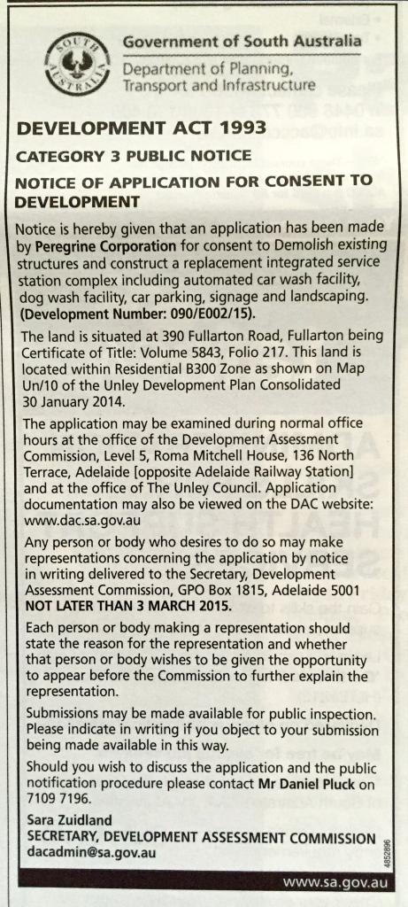 Development Application 390 Fullarton Road , Fullarton