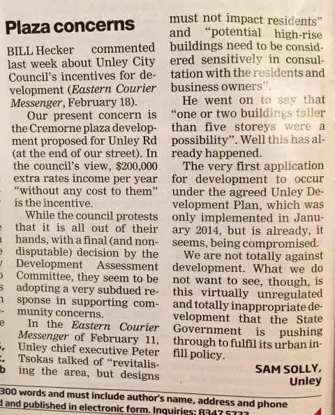 Plaza Concerns, Eastern Courier Messenger, 3 March 2015